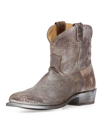 Billy Distressed Short Boot, Chocolate