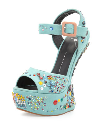 Crystal-Embellished Suede Wedge Sandal, Light Blue