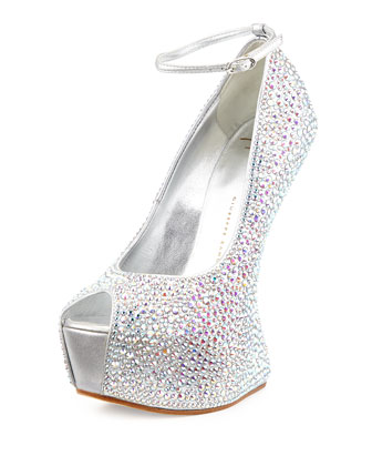 Peep-Toe Studded Wedge, Silver
