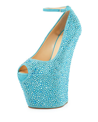 Pazzia Crystal Ankle-Strap Wedge, Sea Green