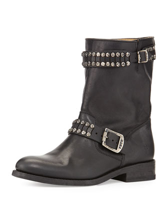 Jayden Studded Leather Moto Boot, Black