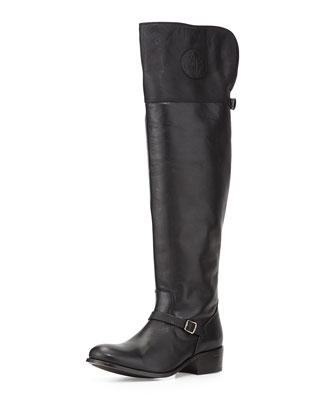 Lynn Leather Over-the-Knee Boot, Black