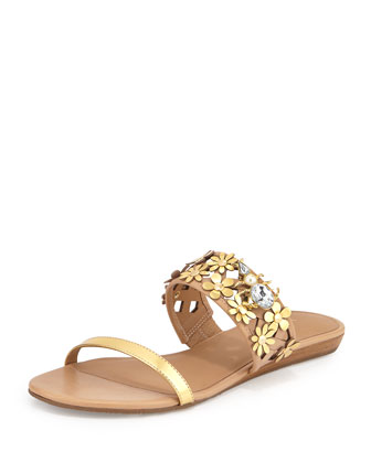 bloom flower-embellished sandal, natural