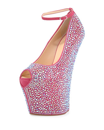 Pazzia Crystal Ankle-Strap Wedge, Hot Pink