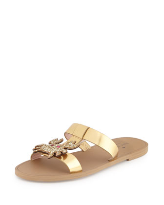 claire metallic crab sandal, gold