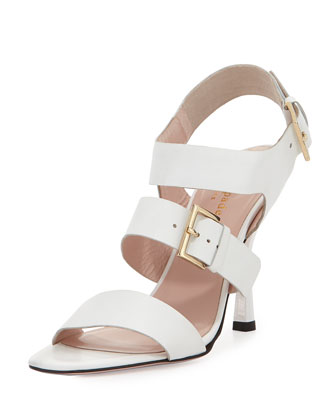 danforth double-buckle sandal, white