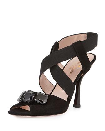 devlin suede crisscross sandal, black