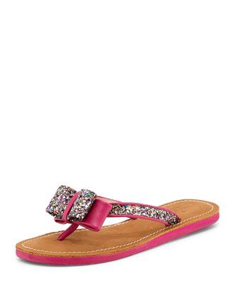 icarda glitter bow thong sandal, pink