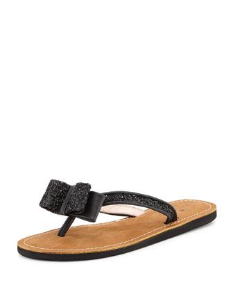 icarda glitter bow thong sandal, black