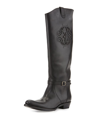 Rider Cutout Logo Buckle Knee Boot, Black