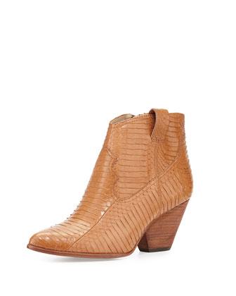 Reina Snakeskin Ankle Boot, Cognac