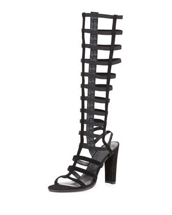 CagedUp Suede Gladiator Sandal, Black