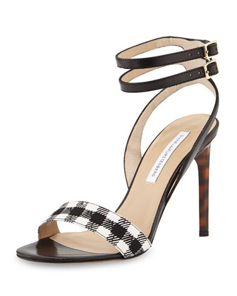 Vera Double-Buckle Sandal, Black/White