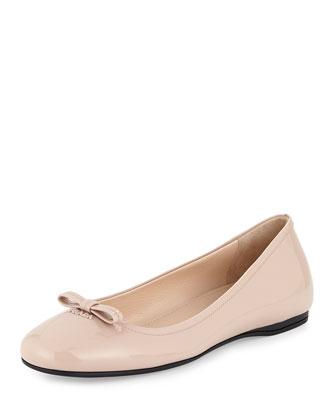 Patent Leather Ballerina Flat, Cipria