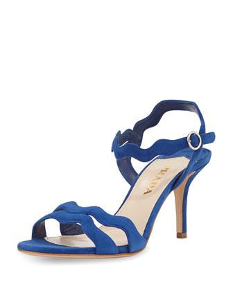 Wavy-Strap Suede Sandal, Blue (Bluette)