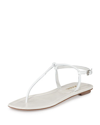 Leather Thong Flat Sandal, Bianco