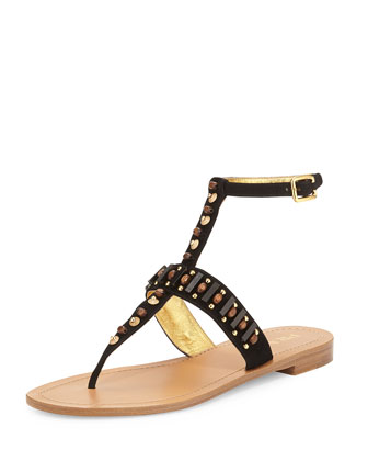 Beaded Leather Thong Sandal, Nero