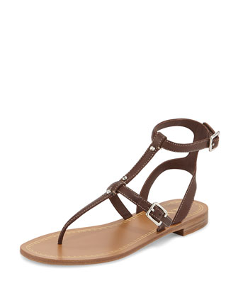 Leather Ankle-Strap Sandal, Teak
