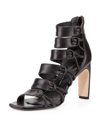 Tansey Multi-Strap Leather Sandal, Black