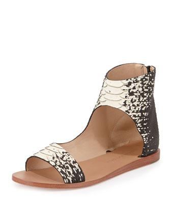 Pasha Snake-Print Sandal, Black/Cream