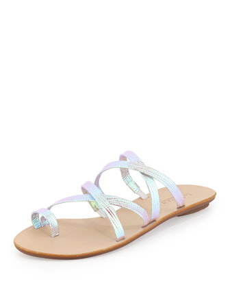 Sarie Iridescent Strappy Sandal, Pearl