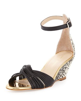 Anya Snake-Print Demi-Wedge Sandal, Black/Cream