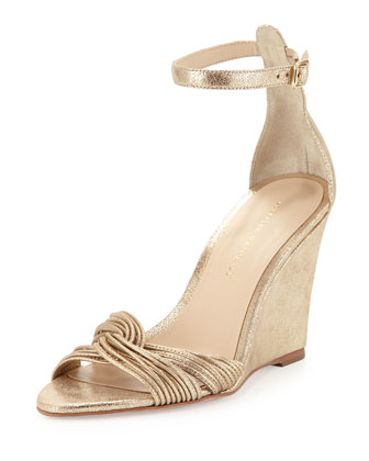 Allegra Metallic Wedge Sandal, Gold