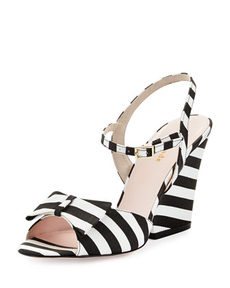 imari striped grosgrain sandal, black/white