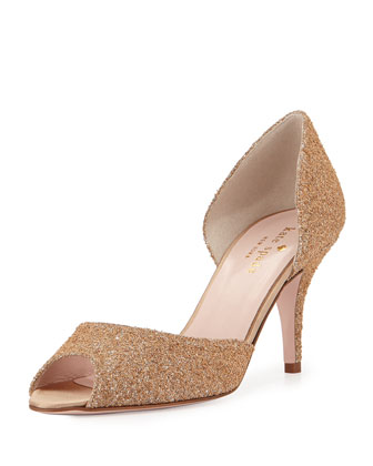 sage glittered peep-toe pump, natural/silver
