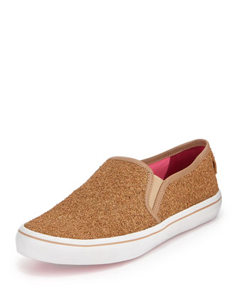 serena glittered cork sneaker, natural/gold
