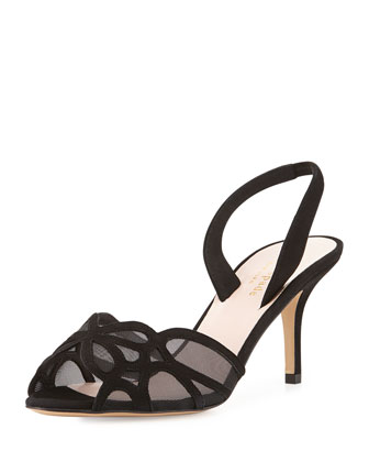 sarita suede slingback sandal, black
