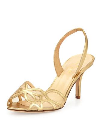 sarita metallic slingback sandal, old gold