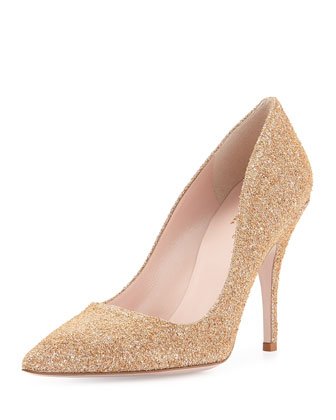 licorice glittered cork pump, natural/silver