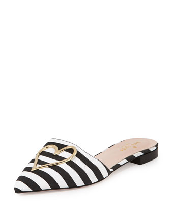 beckon striped grosgrain slide, black/white