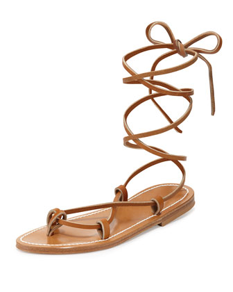 Bikini Leather Gladiator Sandal, Pur Naturel