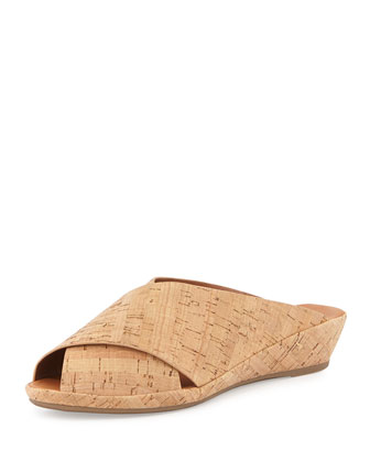 Lloyd Crisscross Demi-Wedge Slide, Natural