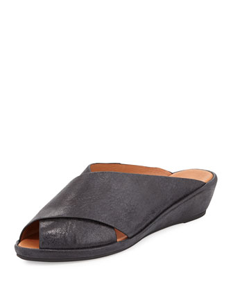 Lloyd Crisscross Demi-Wedge Slide, Black