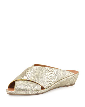 Lloyd Crisscross Demi-Wedge Slide, Gold