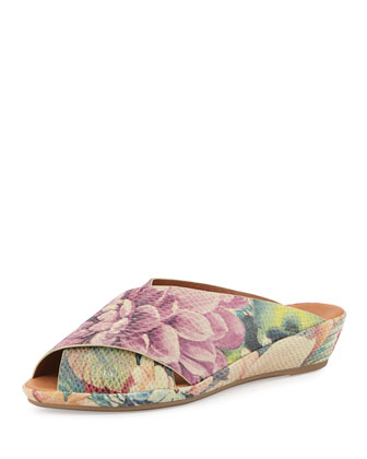 Lloyd Crisscross Demi-Wedge Slide, Floral