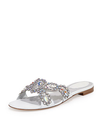 Jeweled Crisscross Slide Sandal, White