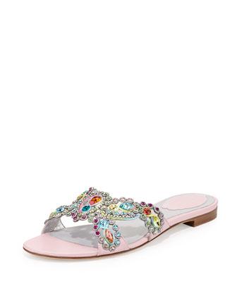 Jeweled Crisscross Slide Sandal, Pink