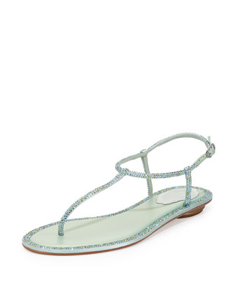 Crystal-Embellished Thong Sandal, Light Blue