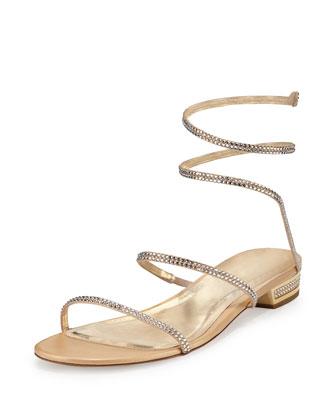 Crystal Snake-Coil Flat Sandal, Gold