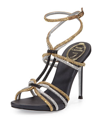 Crystal Ankle-Wrap Sandal, Black