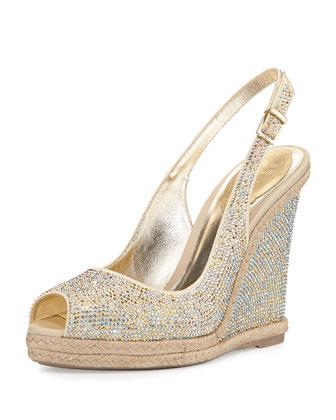Crystal Wedge Espadrille Sandal, Silver