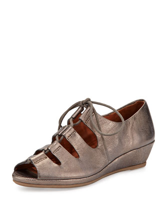 Valley Lily Metallic Leather Demi-Wedge, Graphite