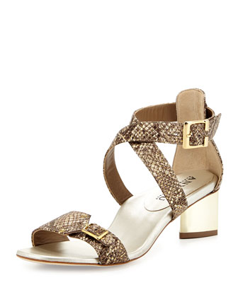 Alexa Snake-Embossed City Sandal, Gold