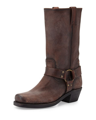 Harness Mid-Calf Boot, Dark Brown