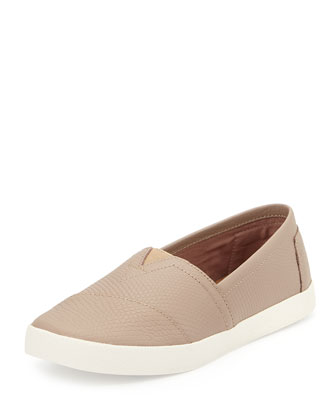 Avalon Snake-Embossed Slip-On Sneaker, Stucco