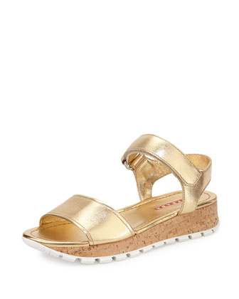 Metallic Leather Cork Sandal, Platino